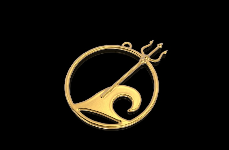Wave Pendant 24K Gold Trident Pendant Poseidons Trident Necklace Gift for Him Nautical Jewelry Gift for Her Mens Silver 925 Pendant
