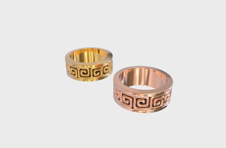 Greek Meander Wedding Band Unisex Band Ring Greek Meander Ring Meander Ring Greek Key Ring Wedding Band Meander Band Ring Unisex Ring