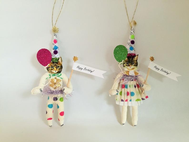Brown Tabby CAT HAPPY BIRTHDAY spun cotton cat vintage style spun cotton boy wballoon 6.5 ornament