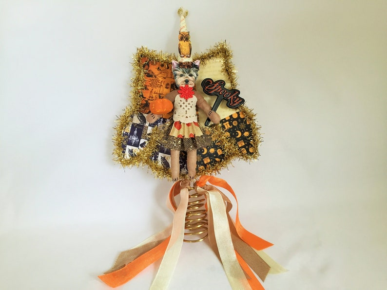 Yorkshire Terrier HALLOWEEN tree TOPPER spun cotton Halloween dog girl figure on 6 owl tree topper