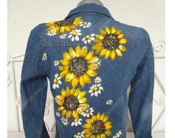 Sunflower Jean Jacket, Hand Painted Jacket, Sunflowers Jacket, Floral Jacket Art, Jean Jacket, Painted Jacket, Sunflowers Art, Handpainted