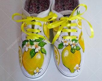 Lemon Hand Painted Sneakers, Lemon Sneakers, Handpainted Lemons Shoes, Tropcal Shoes, Tropical Footwear, Lemon Shoes, Lemon Art, Lemon Fruit