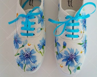 Cornflower Sneakers, Hand Painted Sneakers, Cornflower Shoes, Painted Shoes, Cornflower Footwear, Cornflower Art Handpainted Floral Sneakers