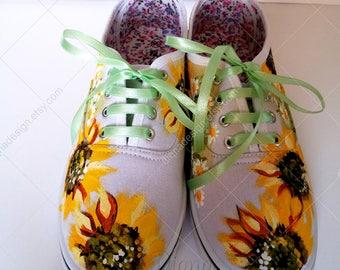 Hand Painted Sunflower Sneakers, Hanpainted Sneakers, Sunflower Shoes, Hanpainted Shoes, Sunflower Art, Sunflowers