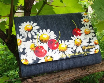 Hand Painted Clutch Bag, Denim Clutch Bag, Cherries and Daisies, Cherry Denim Bag, Denim Clutch, Handpainted Clutch, Clutch Bag Denim Cherry