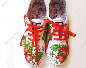 STRAWBERRY ART, Hadpainted Shoes, Strawberry Shoes, Strawberry Sneakers, Footwear Strawberry Art, Handpainted Sneakers Art, Shoes Art