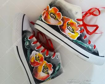 Poppy Hi Tops, Hand Painted Sneakers, Poppies Hi Top Shoes, Floral Sneakers, Handpianted High Tops, Poppy Sneakers, Footwear Art Poppy Shoes
