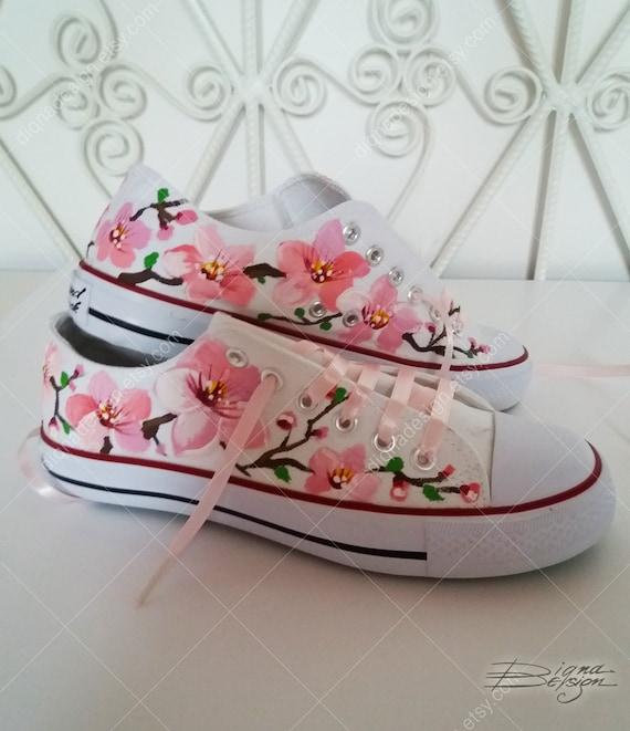 Sakura De CerisierÀ La Main Espadrilles Fleurs jL45AR