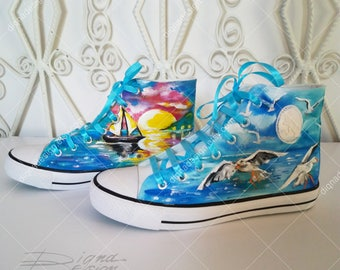 Sea Sneakers, Hand Painted Hi Tops, Sea Shoes, Sunset High Top Shoes, Handpainted Sneakers, Sunset Shoes, Seagull Art, Sunset Hi Top Shoes