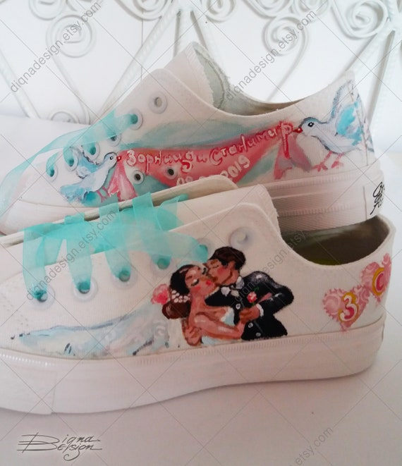Wedding Sneakers Hand Painted Shoes