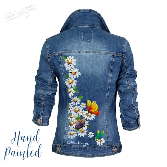 Butterfly jacket Gift for her Missy/'s medium denim jacket Denim jacket Butterflies Unique denim jacket Denim butterfly jacket