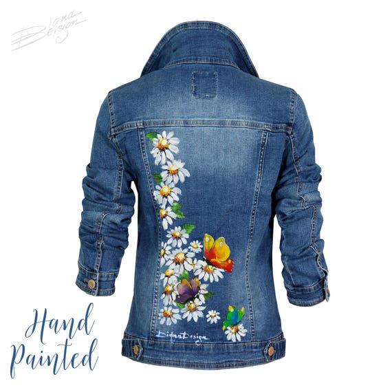 Hand Painted Jean Jacket Butterfly Jacket Butterflies