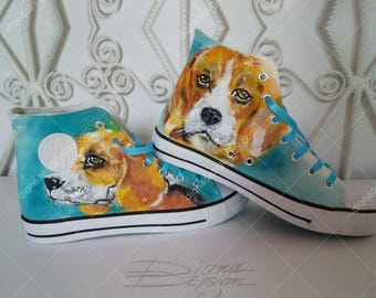 Beagle Sneakers, Hand Painted Sneakers, Beagle Hi Tops, Handpainted Shoes, Dog Footwear, Hand Painted Dog Shoes, Dog Sneakers, Dog Shoes Art