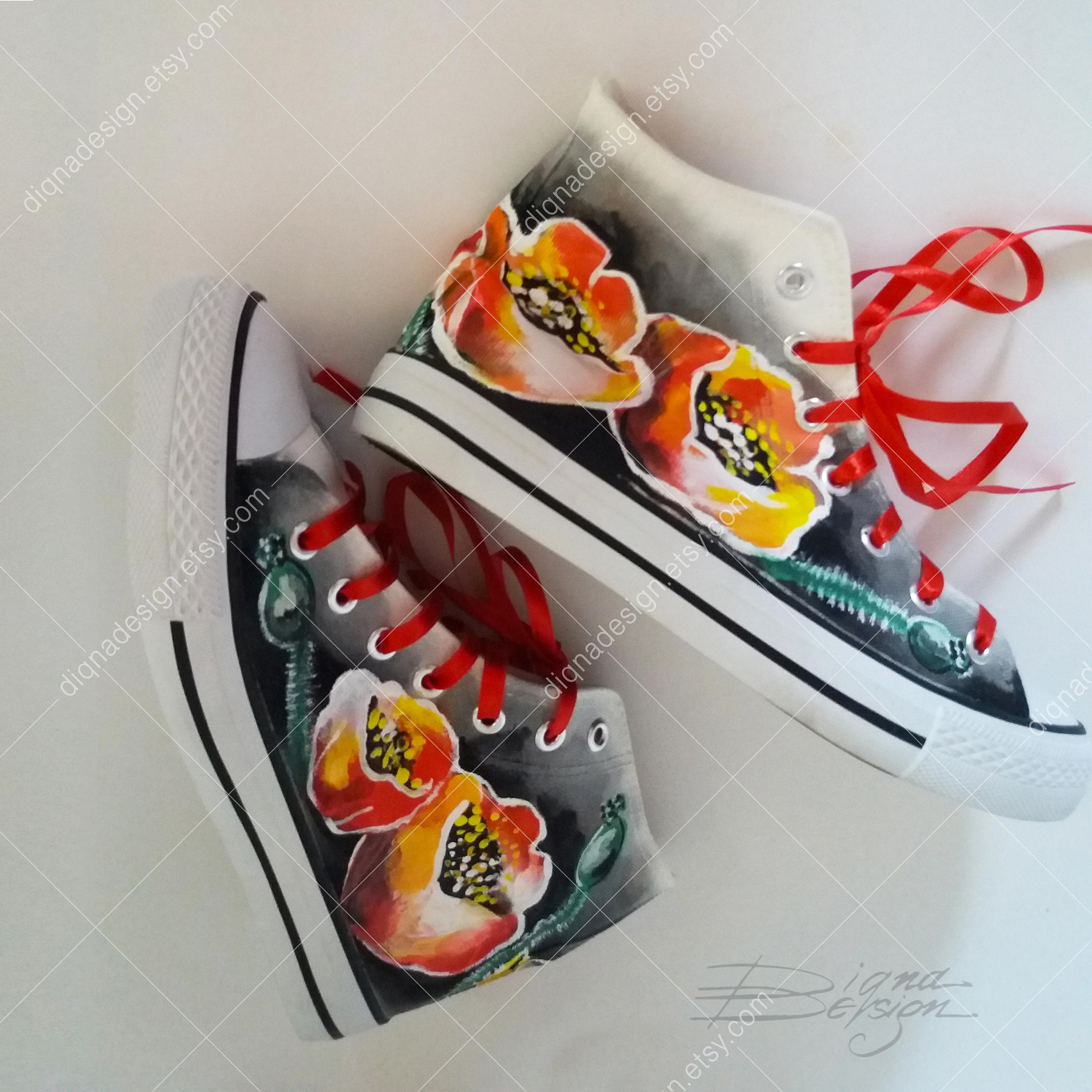 88d285f33aab00 Poppy Hi Tops Hand Painted Sneakers Poppies Hi Top Shoes