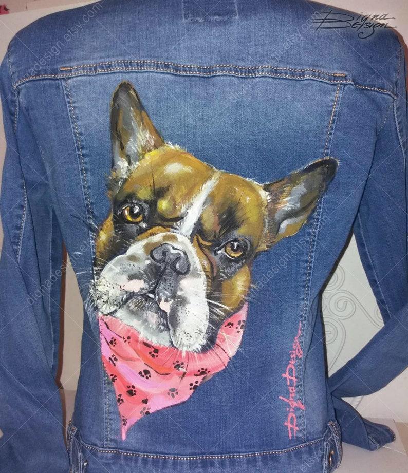 Pet Portrait Art Hand Painted Jean Jacket Pet Portrait Jacket Custom Jean Jacket Jacket with Pet Jacket with Dog