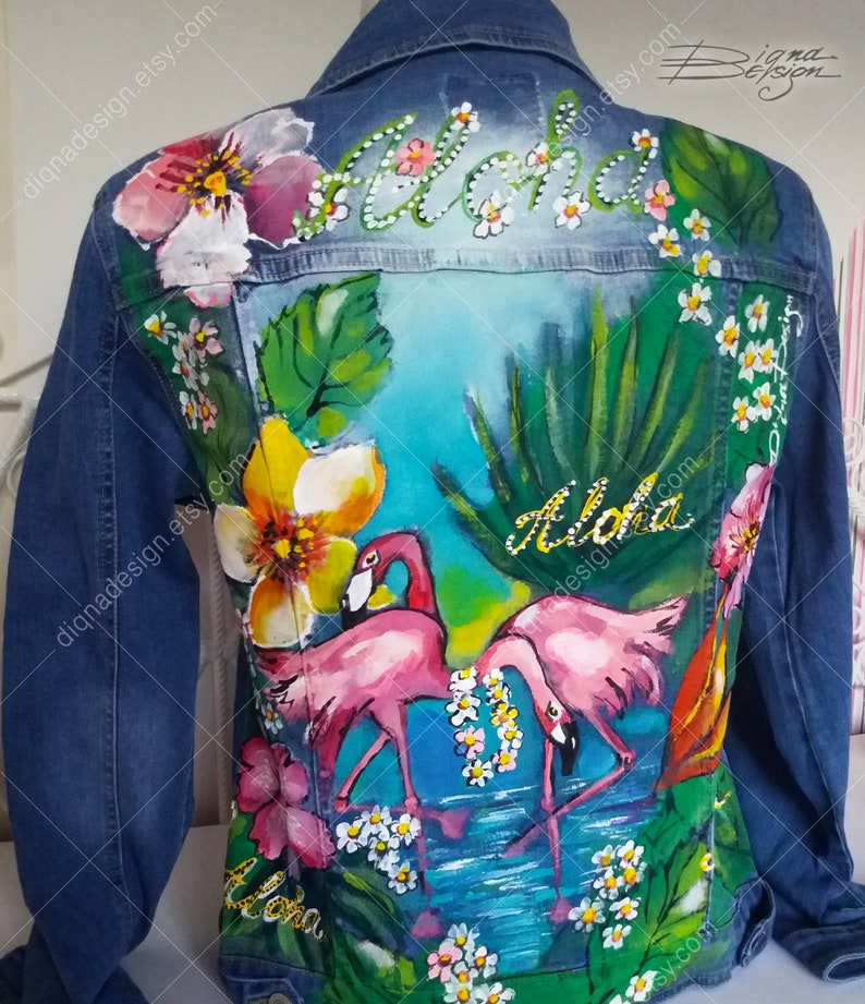 Hand Painted Jacket Tropical Flamingo Jacket Tropical Jacket Jean Jacket Flamingo Jacket Handpainted Aloha Jacket Tropical Jean Jacket