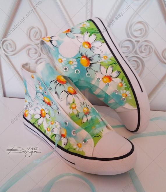 Marguerites Salut Tops, à la main peint Salut-Tops, Floral hauts sommets, sommets, hauts baskets Marguerite, Marguerite fleur chaussures cb9cf3