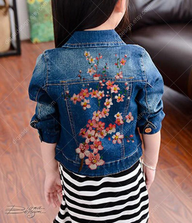 ad7e5ee292631 Veste enfant à la main de fleurs de cerisier peint veste