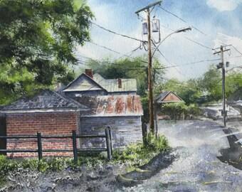 Original Watetcolor: Lexington Alleyway Red