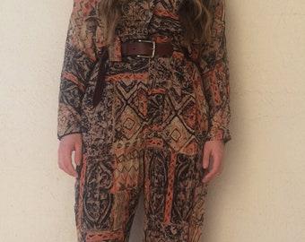 3a28f5f338b 80s Vintage Boho Jumpsuit   Playsuit   Retro   Romper   Onesie   Coveralls    Overalls   Hippie   Hippy   Bohemian