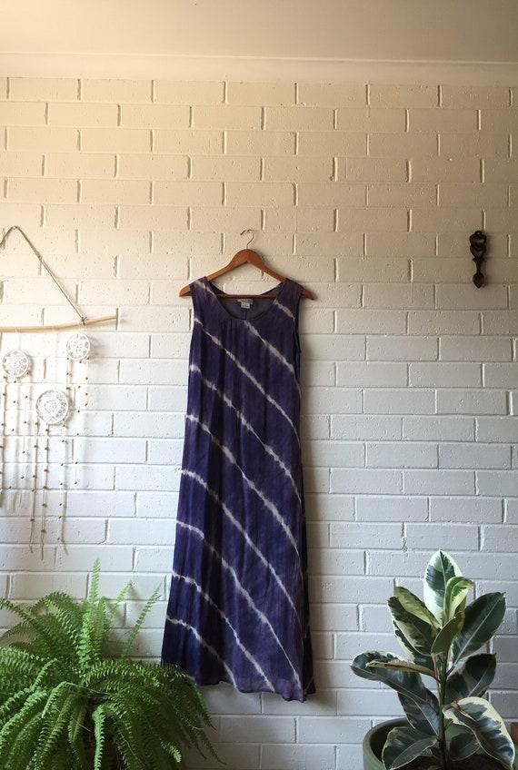 90s RAAM Mesh Tie-Dye Boho Maxi Dress   Rayon/Mesh