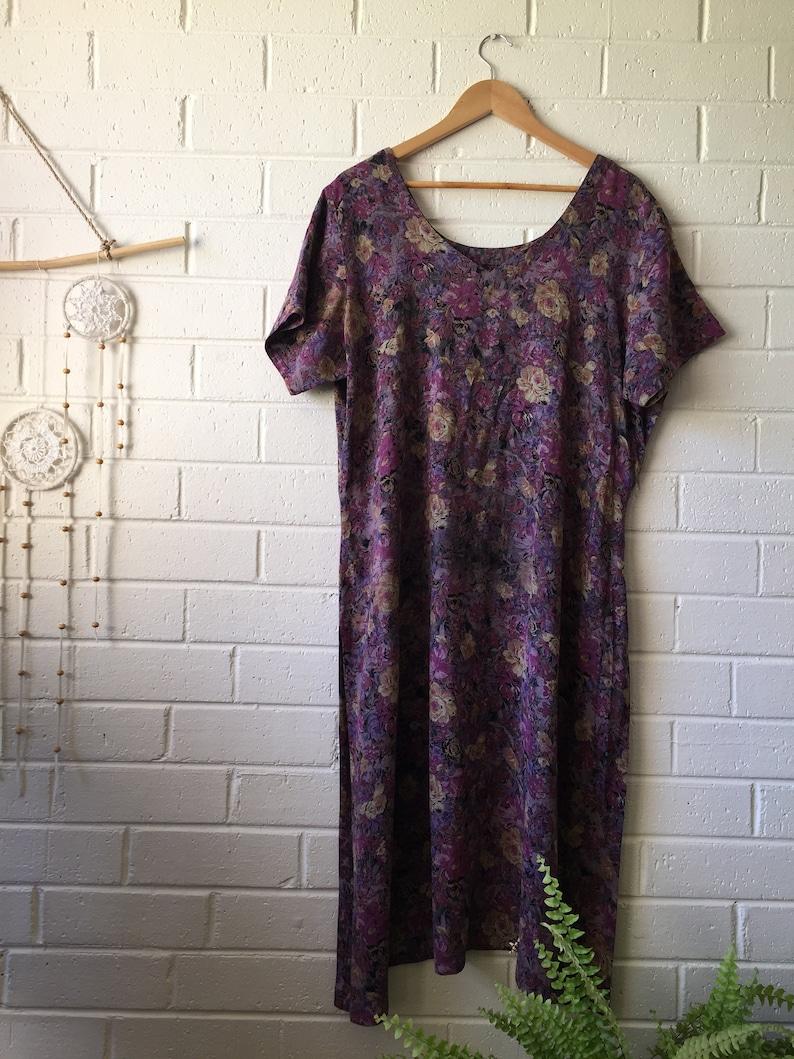 Off Shoulder Floral Hippy Boho Grunge Hippie 90s Fashion 80s Boho Oversize Midi Dress Gypsy