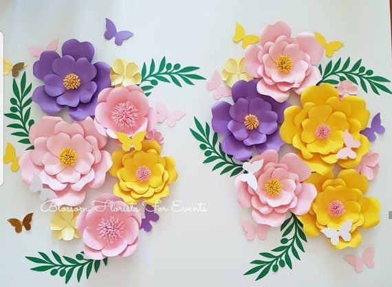 High Quality Paper Flowers /Paper Flower Set/ Wall Decor/Nursery Room /Wedding Decoration/Paper Flower Nursery Decor/Baby Shower by Etsy