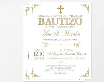 Gold Baptism Invitation Spanish, Baptism Invitation Printable, Christening  Invitation, Glitter, Invites, Español, Girl, Boy Baptism BFC02