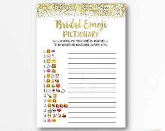 emoji pictionary bridal shower game wedding emoji pictionary gold bridal shower gold confetti instant download printables br01