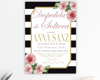 bridal shower invitation bridal shower invites invitation printable floral invite stripes glitter modern watercolor flowers br03
