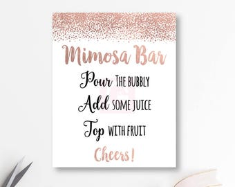 picture regarding Mimosa Bar Sign Printable Free identify Rose gold mimosa bar Etsy