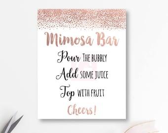photograph about Mimosa Bar Sign Printable Free identify Rose gold mimosa bar Etsy