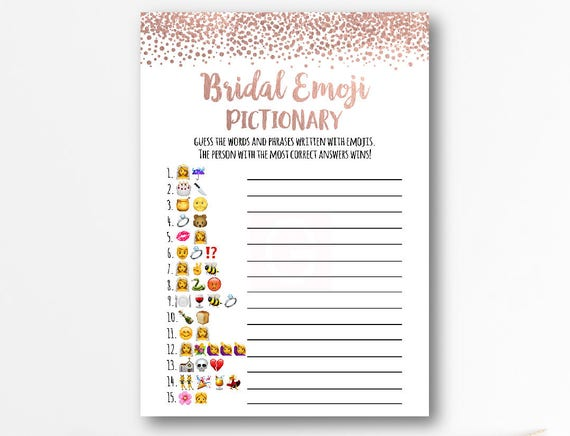 Emoji Game Bridal Shower Pictionary Game Wedding Emoji Etsy