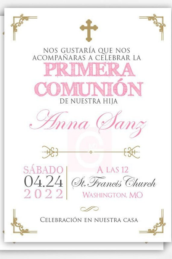 image about Printable First Communion Invitations identified as Initially communion invitation spanish woman, initial communion female, 1st communion invitation printable, 1st communion, very first communion get together
