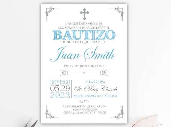 Junge Taufe Einladungen Gedruckte Einladungen Taufe Spanisch Blau Silber Spanisch Junge Taufe Taufe Taufe Baby Bfc02