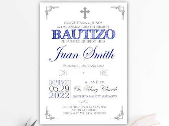 Taufe Einladungen Taufe Spanisch Gedruckt Einladungen Royal Blau Weiss Silber Spanisch Junge Taufe Taufe Taufe Baby Bfc02
