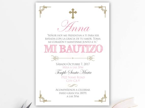 Invitaciones De Bautizo Invitacion Bautizo Rosa Y Dorado Bautizo Chica Bautizo Bebe Cristianismo Tarjetas Pink Sobres Bfc02