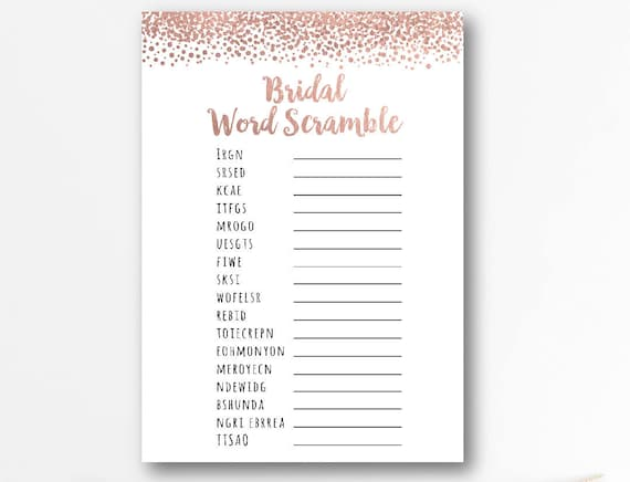 word scramble game bridal shower games printablerose gold etsy