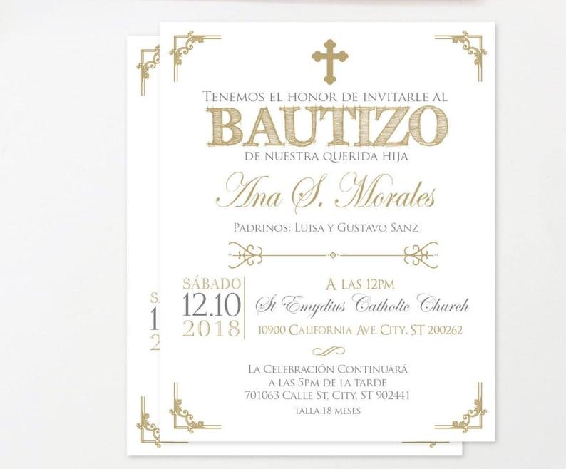 Gold Baptism Invitation Spanish Printable Christening Glitter Invites Espanol Girl Boy BFC02