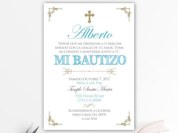 Invitaciones De Bautizo Invitacion Bautizo Azul Y Dorado Bautizo Chico Bautizo Bebe Cristianismo Tarjetas Azul Sobres Bfc02