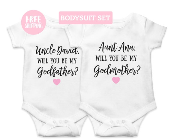 SALE Will you be my Godparents Bodysuits