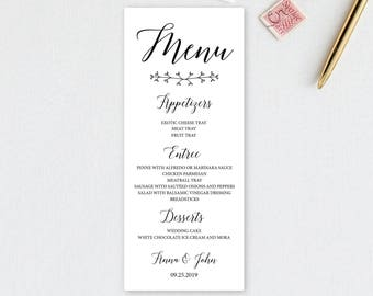 Wedding menu, wedding menu template, wedding menu cards, wedding menu printable, wedding menu sign, elegant wedding menu, classic WD01