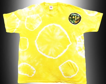 Yellow Tie Dye Tee T-shirt Hand Dyed Hippy Clothes Festival Vibes Sunshine Happy Limited Edition One-Off My Hippy World Hippie Tee