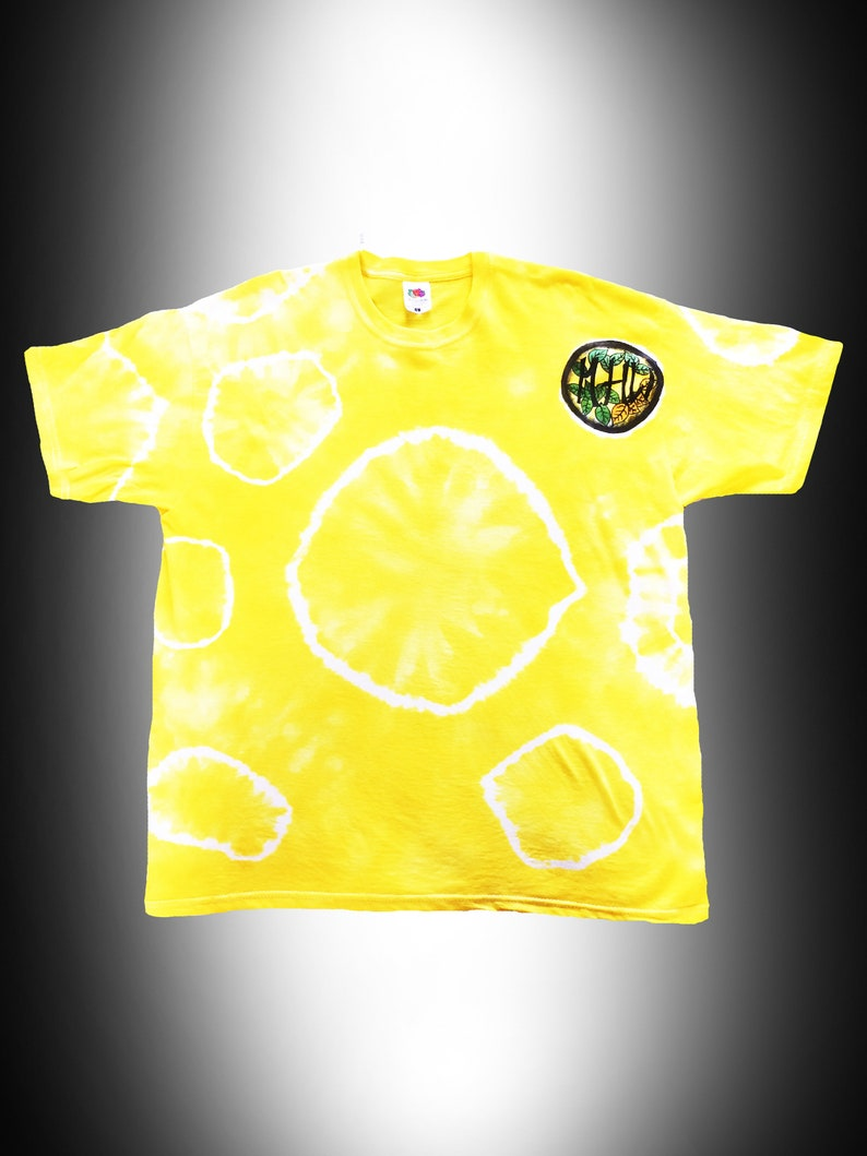 289c8aa618e6 Yellow Tie Dye Tee T-shirt Hand Dyed Hippy Clothes Festival   Etsy