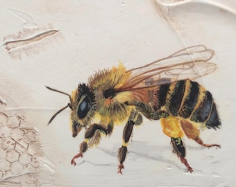 Honey Bee Original Acrylic Mini 6x6 Hand Painted