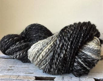 Hand spun wool, black, grey white