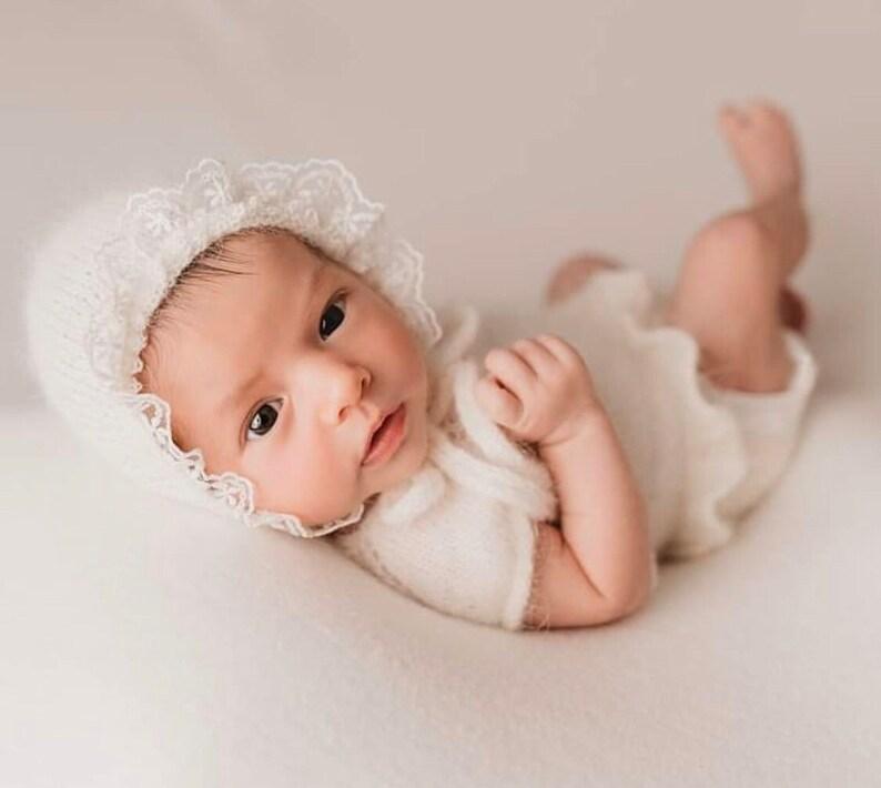 Newborn Knitted Romper for Girl,Newborn Headband,Newborn Romper Girl,Newborn Girl Outfit,Newborn Photography Props,Newborn Photo Props Set