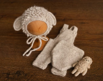 Newborn Sheep Outfit,Newborn Knitted outfit,Newborn Photography prop,Newborn Felt Sheep Toy,First Birthday Outfit,Newborn Coming Home Outfit