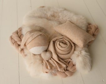 Warm Beige Newborn Photography Props,Newborn Merino Wool Blanket,Newborn Posing Fabric,Newborn Posing Pillow,Newborn Sleep Hat Boy,Baby Wrap