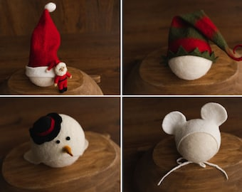 Newborn Christmas Hat,Newborn Santa Hat,Newborn Elf Hat,Newborn Mouse Hat,Newborn Snowman Hat,Newborn Holly Berry Headband,Newborn Felt Hat